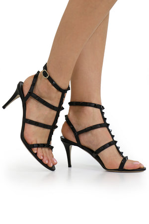 ROCKSTUD FOUR STRAP 70MM SANDAL BLACK