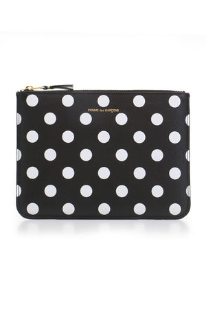POLKA DOT LEATHER POUCH BLACK