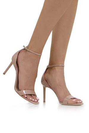 AMBER SANDAL 85MM PATENT NUDE