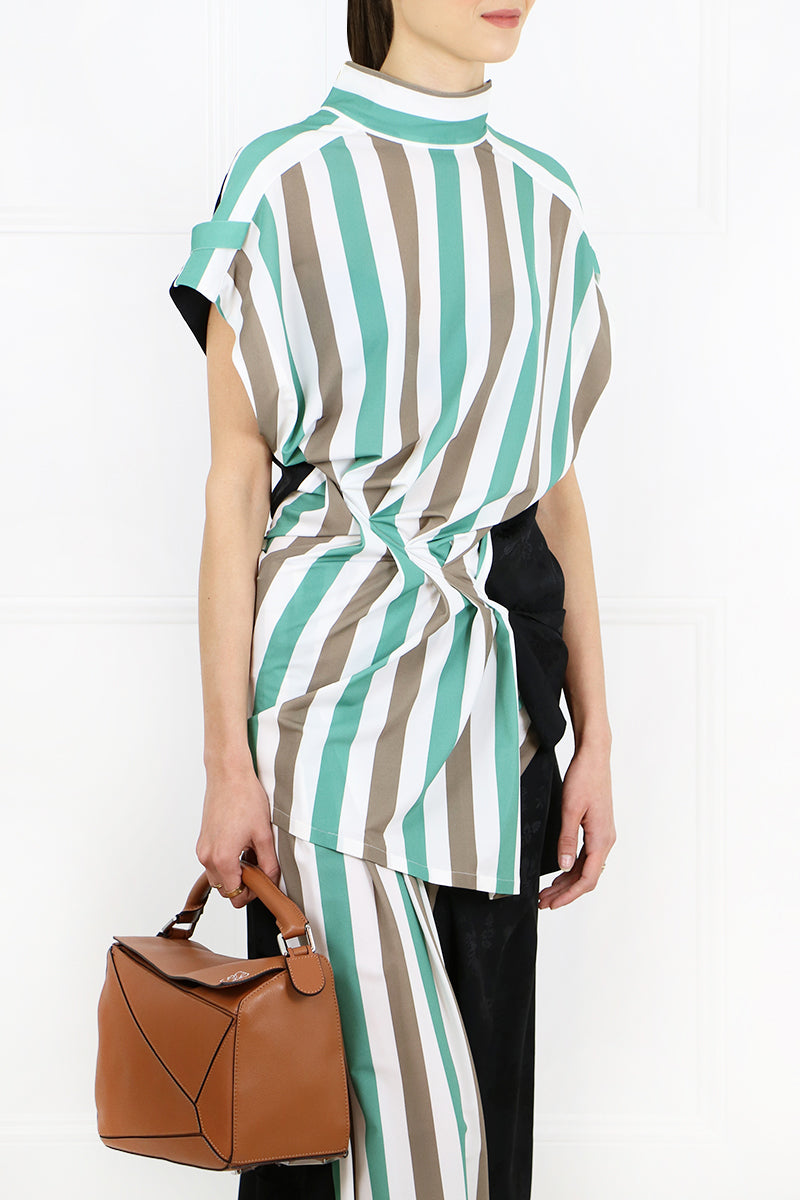 STRIPE PANEL TOP BROWN/GREEN