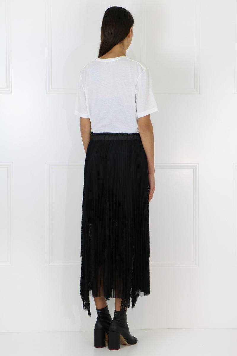PLEATED LACE SKIRT BLACK