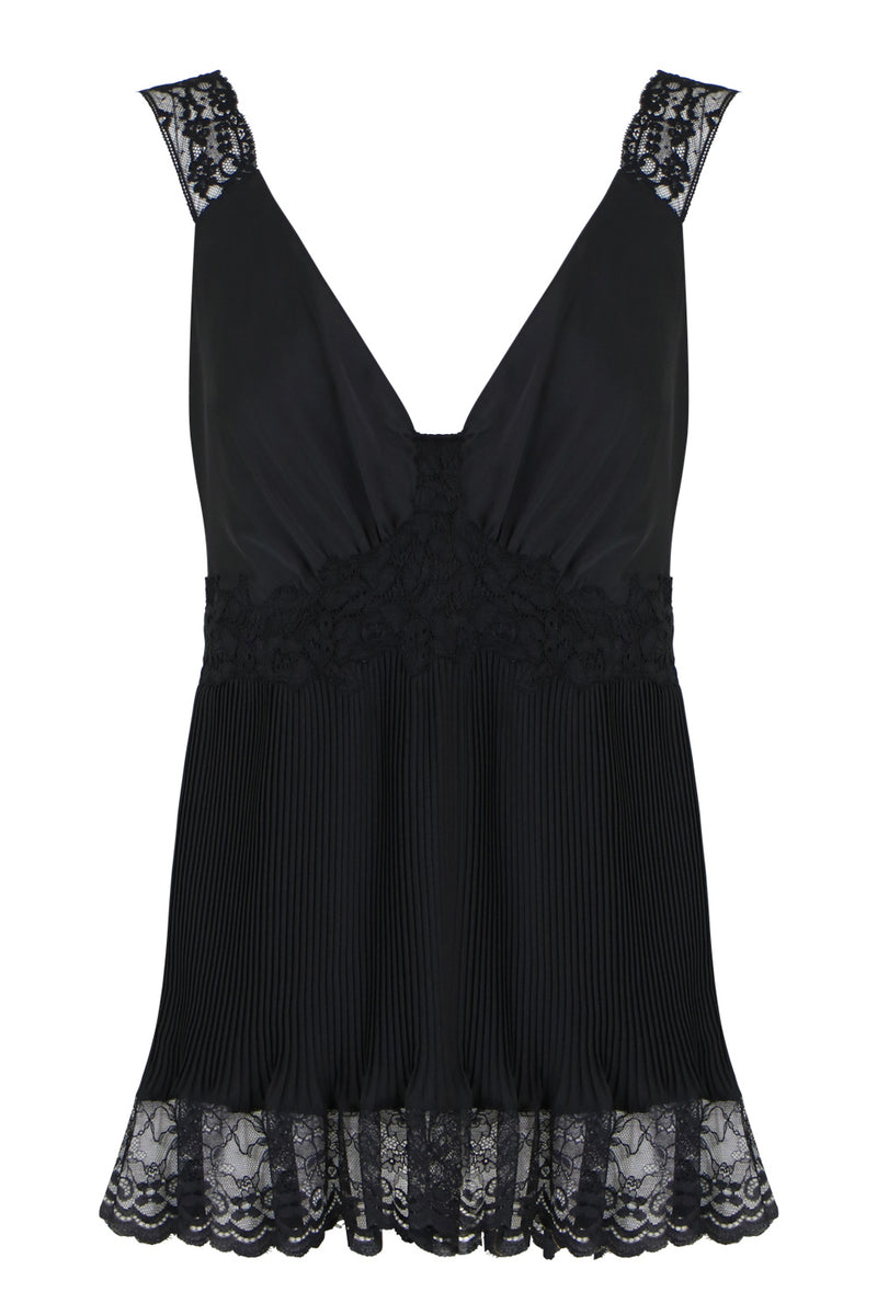 PLEATED LACE CAMI S/LESS BLACK