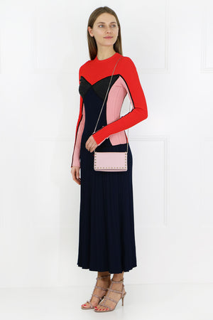 CONTRAST KNIT DRESS L/S RED/BLACK/PINK