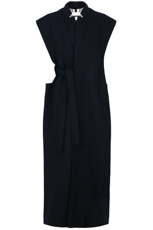 LONG SLEEVELESS BELTED COAT NAVY