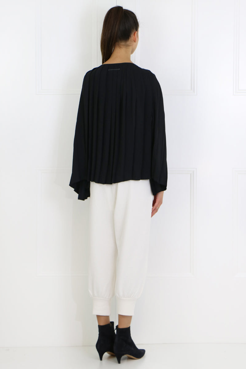 PLEATED CAPE BLOUSE WITH TIE BLACK