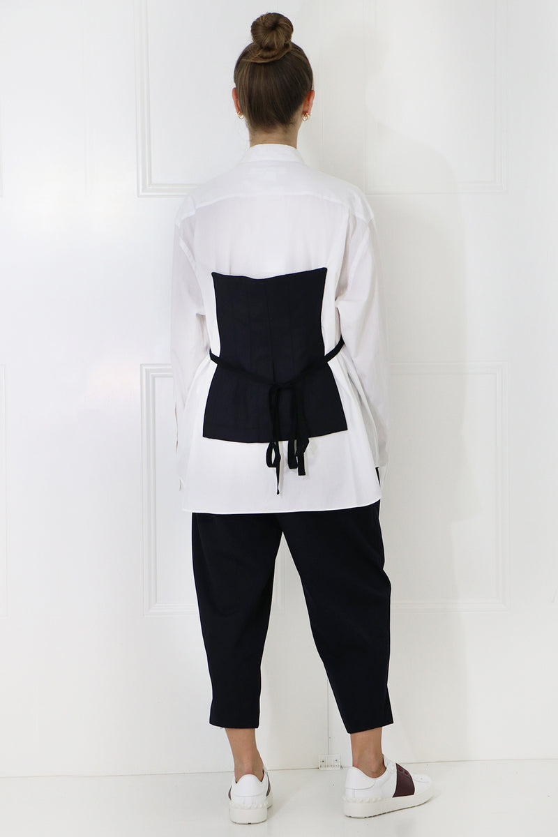 LAYERED BODICE SHIRT L/S NAVY/WHITE
