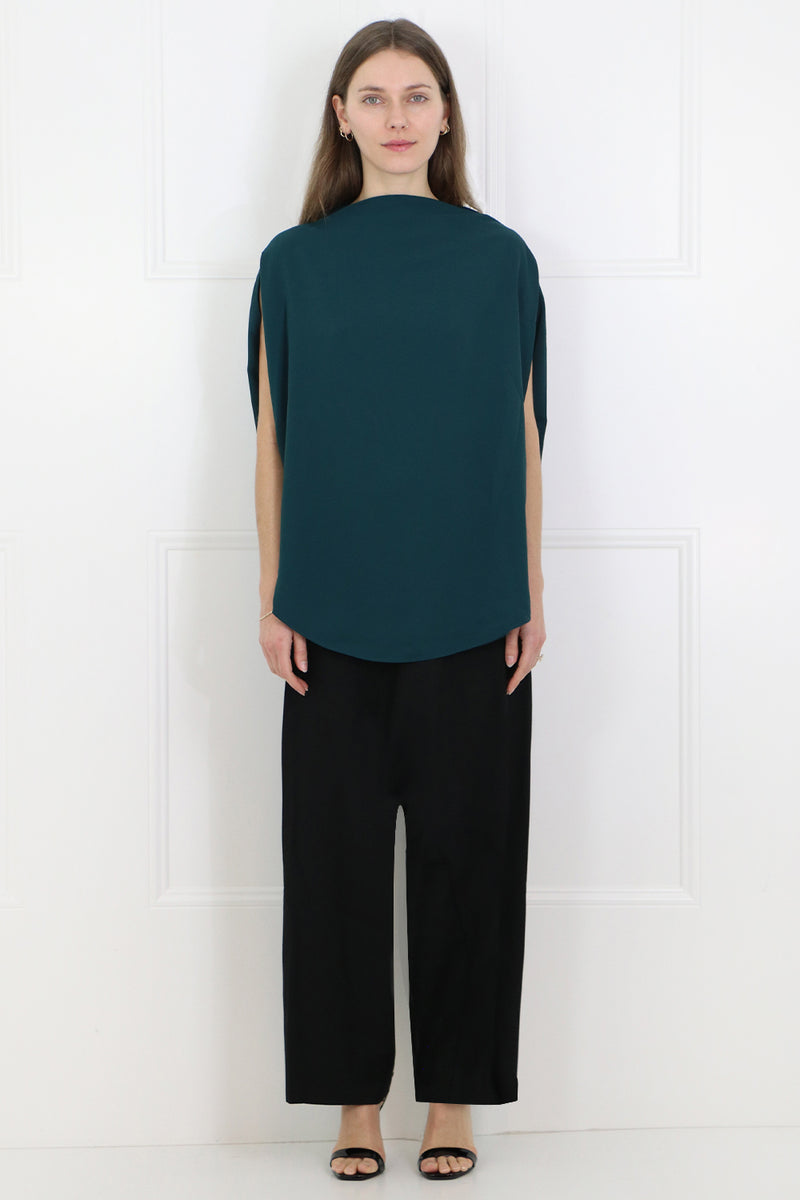 CIRCULAR FLUID BLOUSE DUCK GREEN