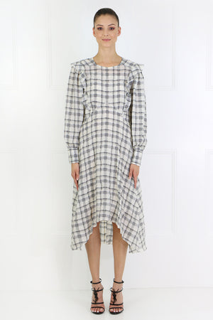 ADONIS CHECK DRESS L/S ECRU/BLACK