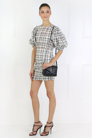 ADELAIDE CHECK MINI DRESS S/S ECRU/BLACK