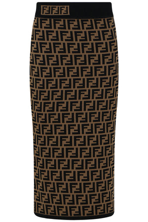 FF LOGO PENCIL SKIRT TOBACCO