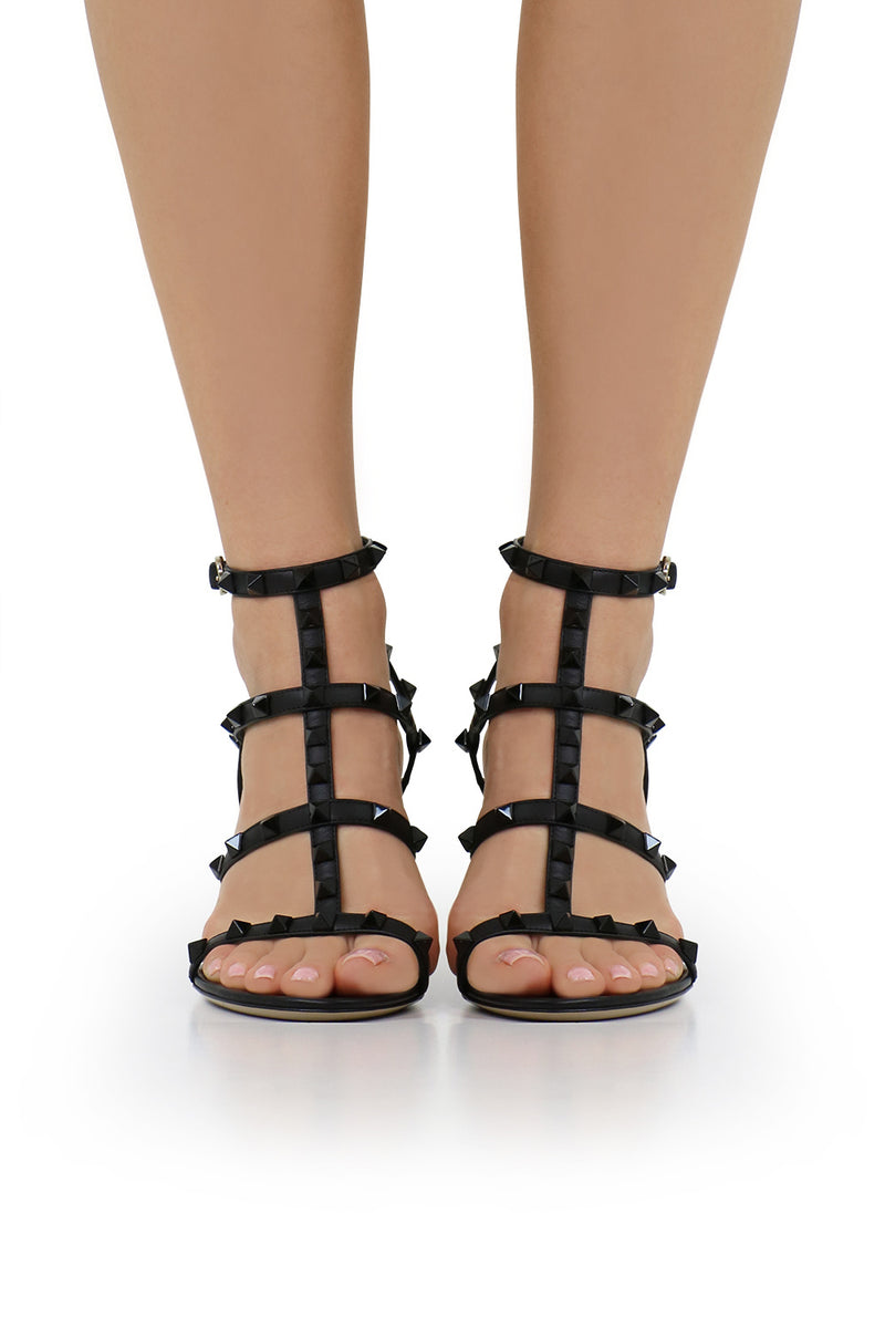 ROCKSTUD FOUR STRAP 105MM SANDAL BLACK