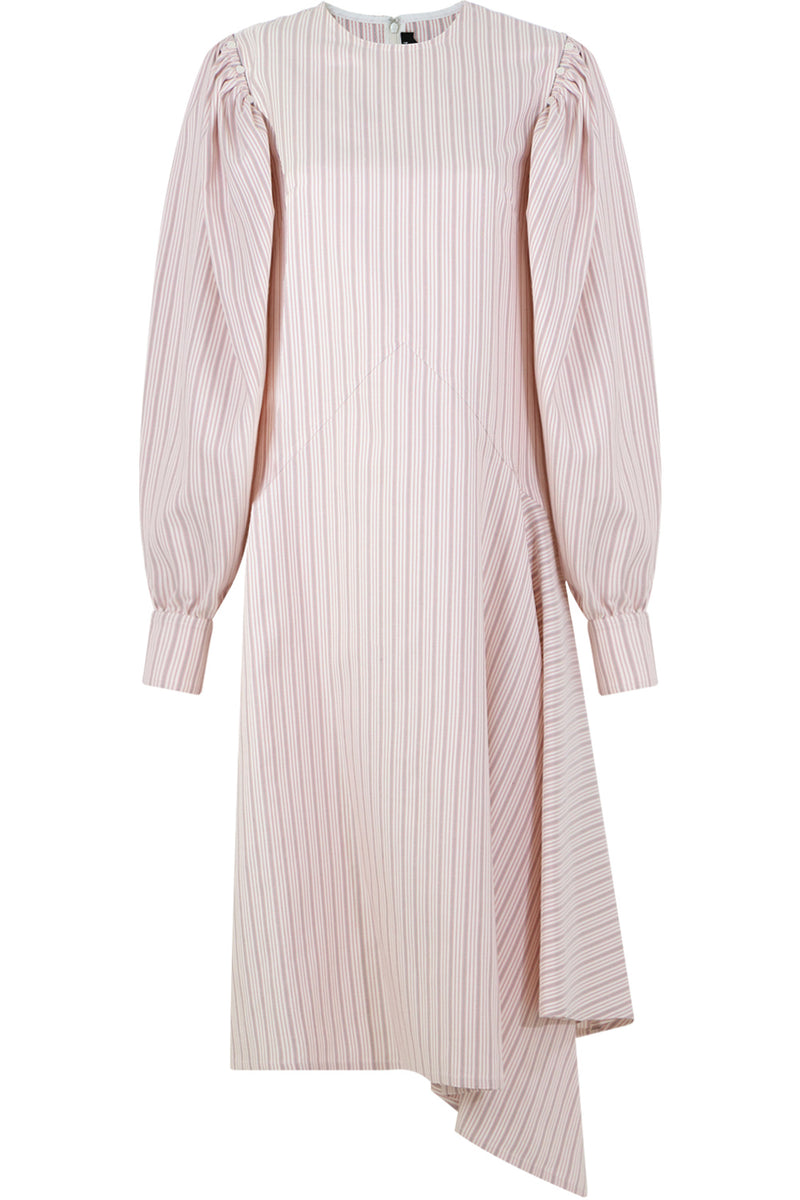 STRIPE DRESS L/S WHITE/RED/BLACK