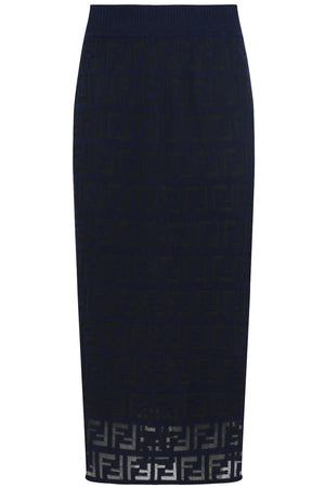LOGO KNIT PENCIL SKIRT ACAI