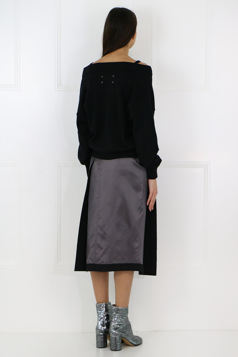 RAW FINISH PENCIL SKIRT GREY