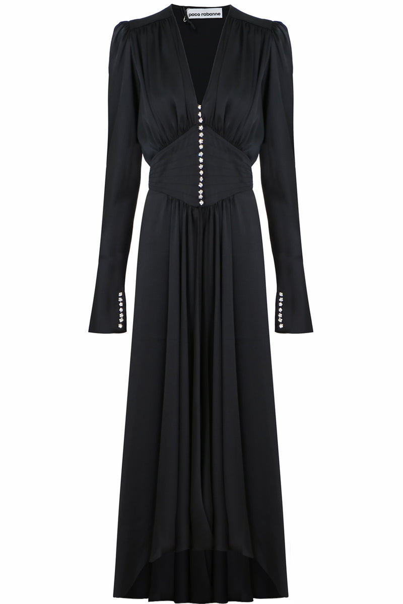 CRYSTAL BUTTONED DRESS L/S BLACK