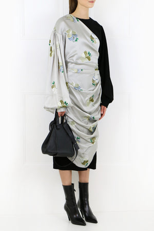 FLORAL PRINT DRAPE DRESS LIGHT GREY