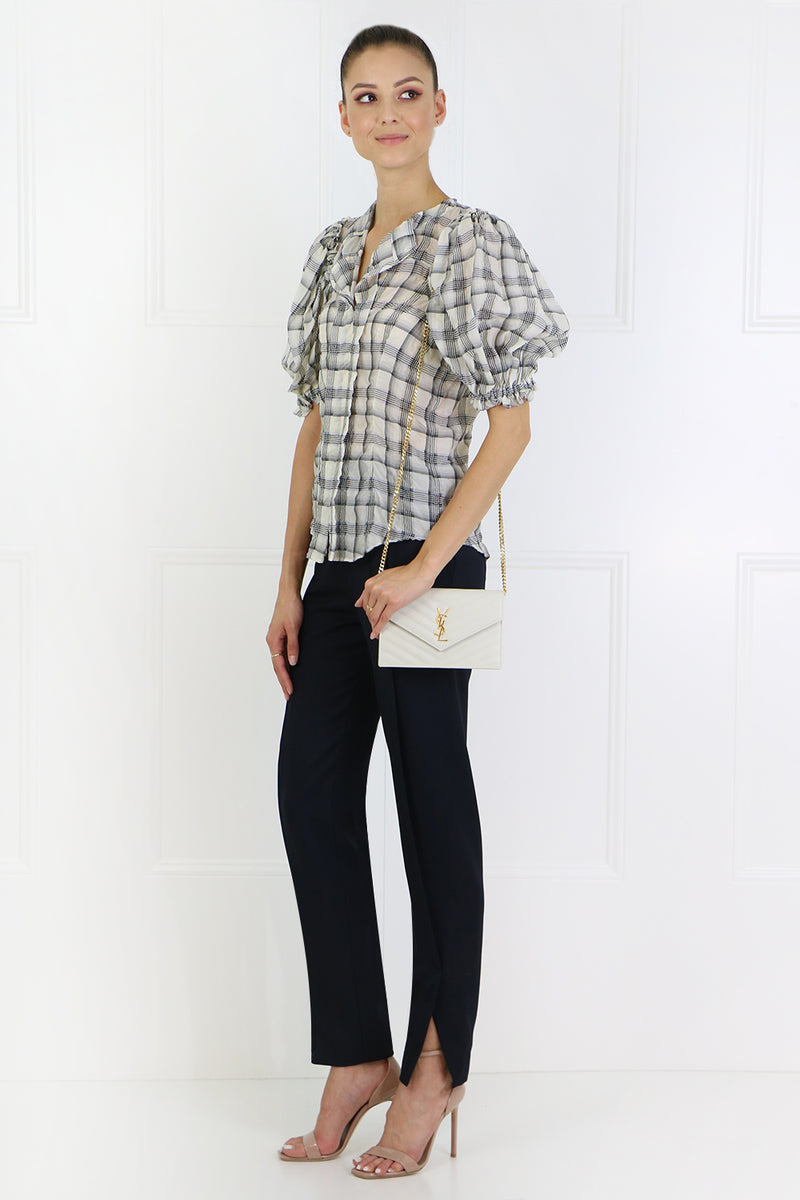 ABIES CHECK BLOUSE S/S ECRU/BLACK