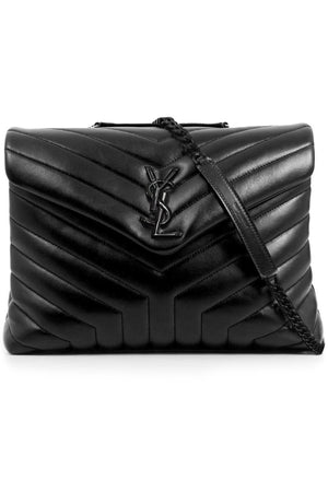 LOULOU MEDIUM FLAP BAG BLACK/BLACK