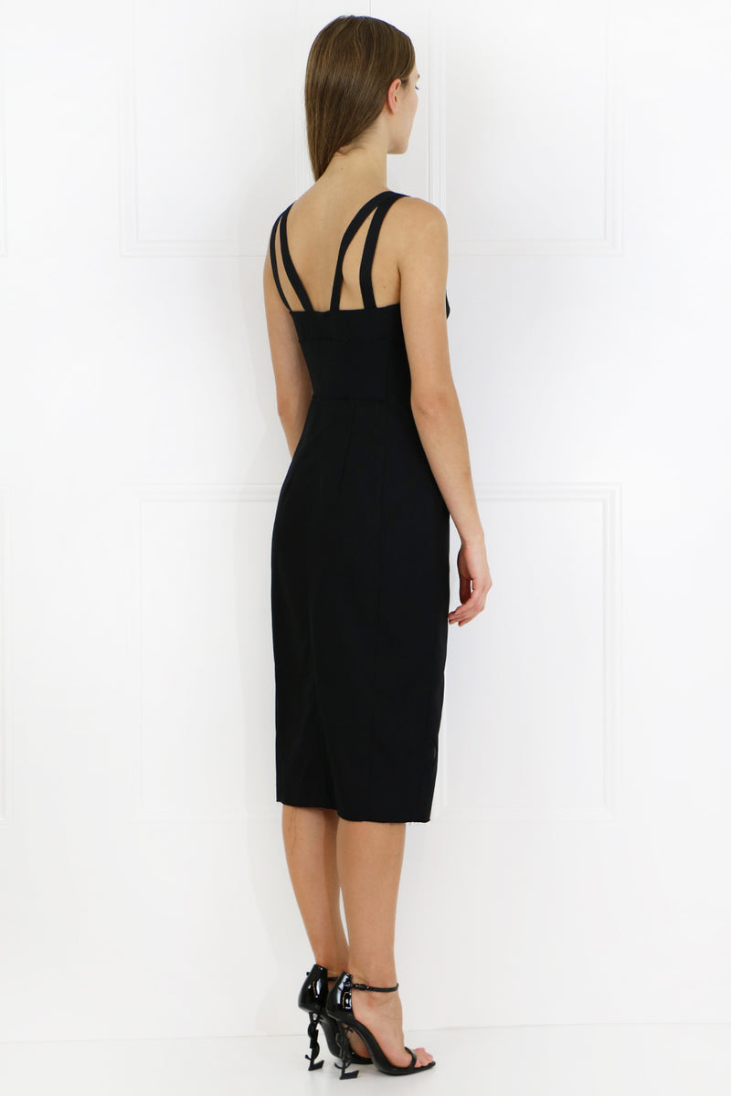S/LESS BUSTIER MIDI DRESS BLACK