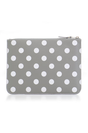 POLKA DOT LEATHER POUCH GREY