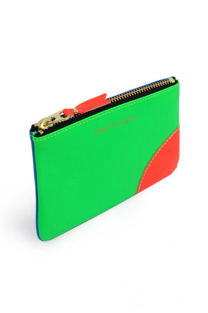 SMALL FLURO LEATHER POUCH GREEN/BLUE