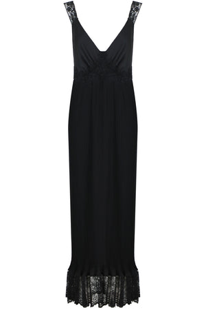 PLEATED LACE MAXI DRESS BLACK