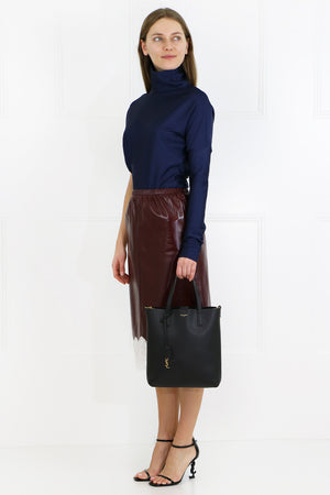 LACE HEM LEATHER SKIRT MULBERRY