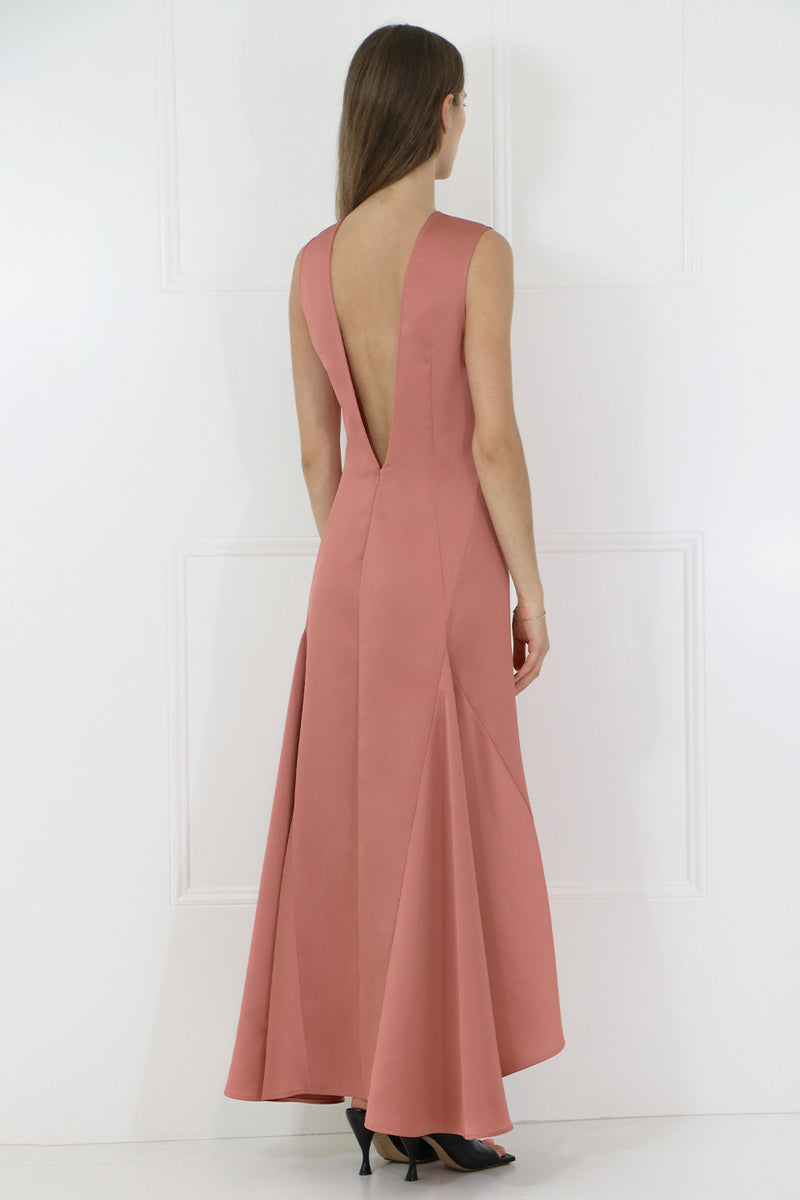 LOW BACK MAXI DRESS S/LESS FUSCHIA