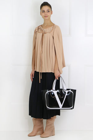 PLEATED CAPE BLOUSE WITH TIE NUDE