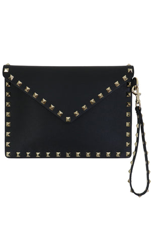 SMALL ROCKSTUD ENVELOPE POUCH SMOOTH LEATHER BLACK