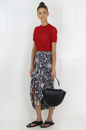 CANDICE RUCHED MIDI SKIRT CHALK