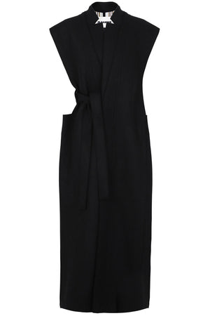 LONG SLEEVELESS BELTED COAT BLACK