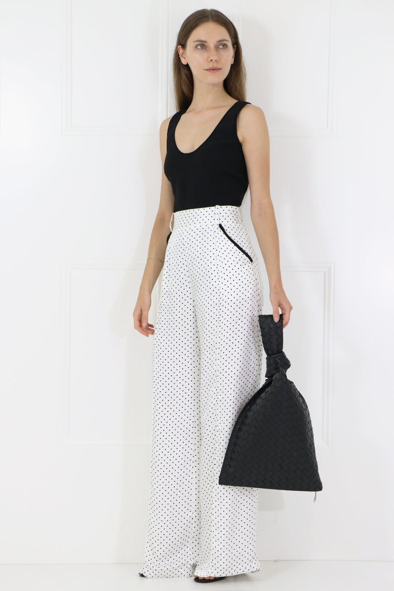 CORA WIDE LEG POLKADOT PANTS BLACK/WHITE