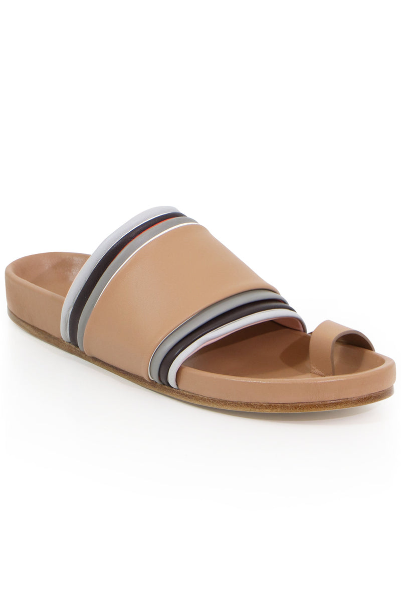 LAYERED THONG SLIDE TAN/MULTI