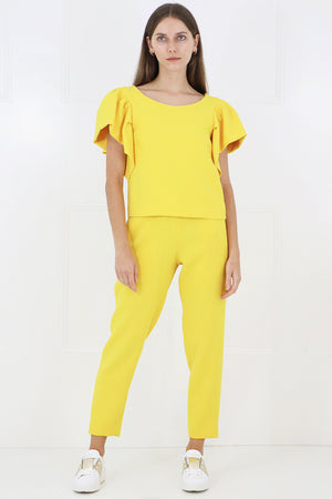 TISSUE NARROW CROP PANT SUNFLOWER