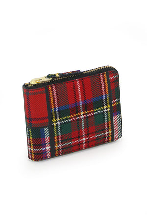 TARTAN PATCHWORK ZIP WALLET RED