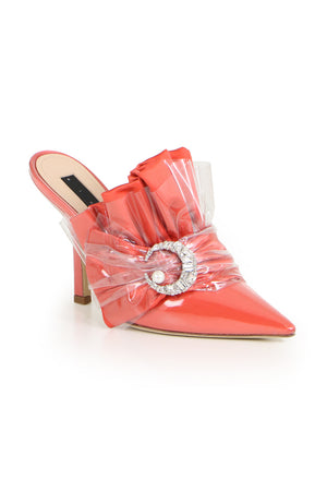 CRYSTAL MULE HEEL 100MM CORAL