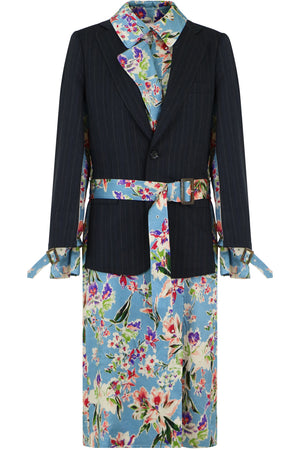 FLORAL PRINT JACKET DRESS NAVY