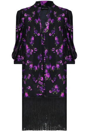 GAZA FLORAL PRINT DRESS L/S BLACK/PURPLE