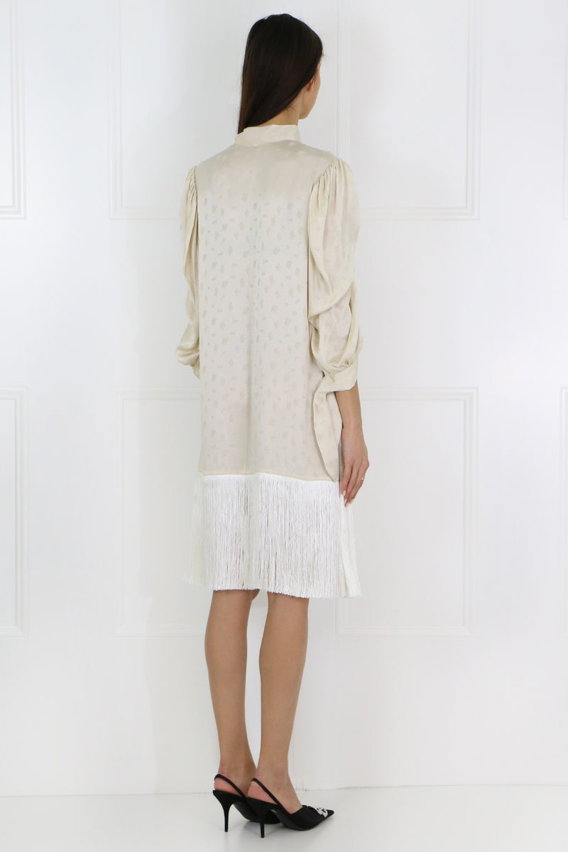 GAZA JACQUARD DRESS L/S CREAM