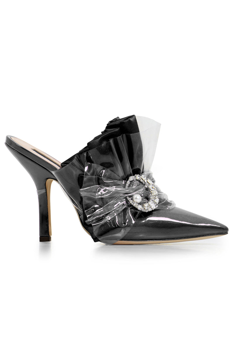 CRYSTAL MULE HEEL 100MM BLACK