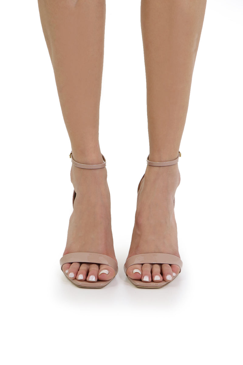 AMBER SANDAL 105MM PATENT NUDE