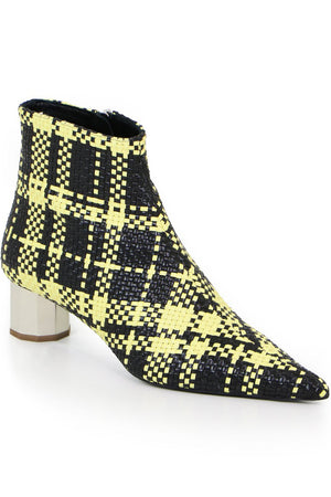 WOVEN CHECK BOOT 40MM YELLOW/BLACK