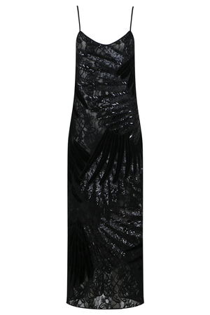 FEATHER  APPLIQUE DRESS BLACK