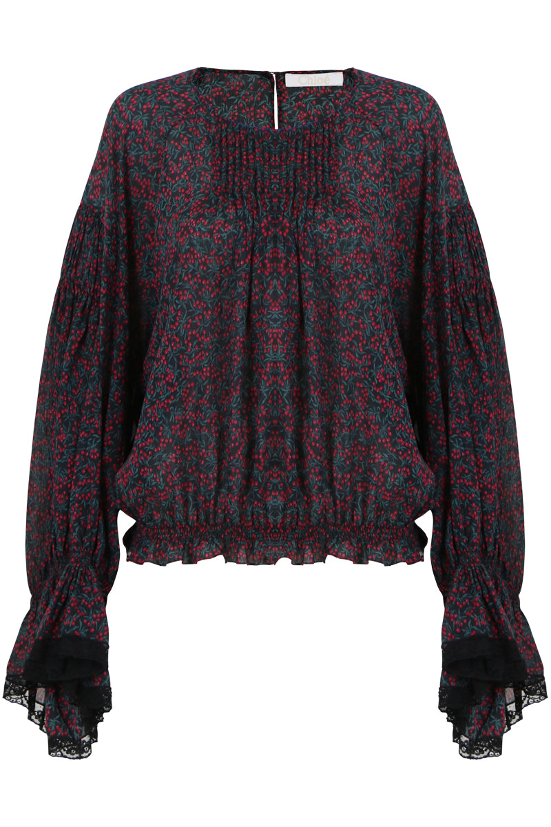 BELL SLEEVE CHERRY PRINT BLOUSE CRIMSON/BLACK