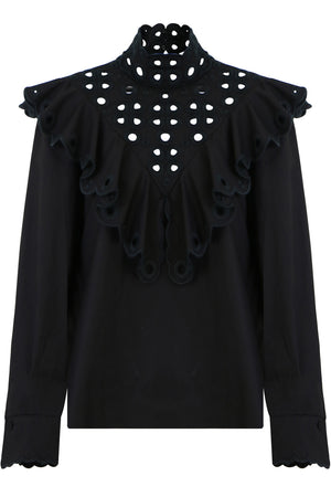 HIGH NECK EMBROIDERED BLOUSE L/S BLACK