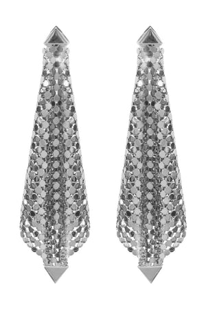 SQUARE MESH FOLDED EARRINGS SILVER