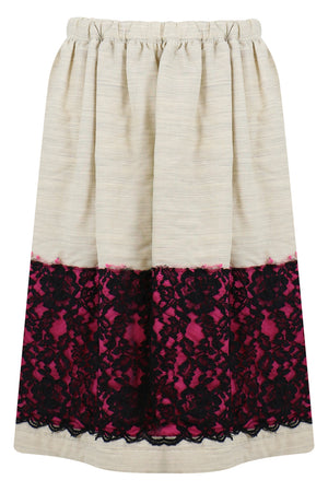 CONTRAST LACE SKIRT NATURAL/BLACK/PINK