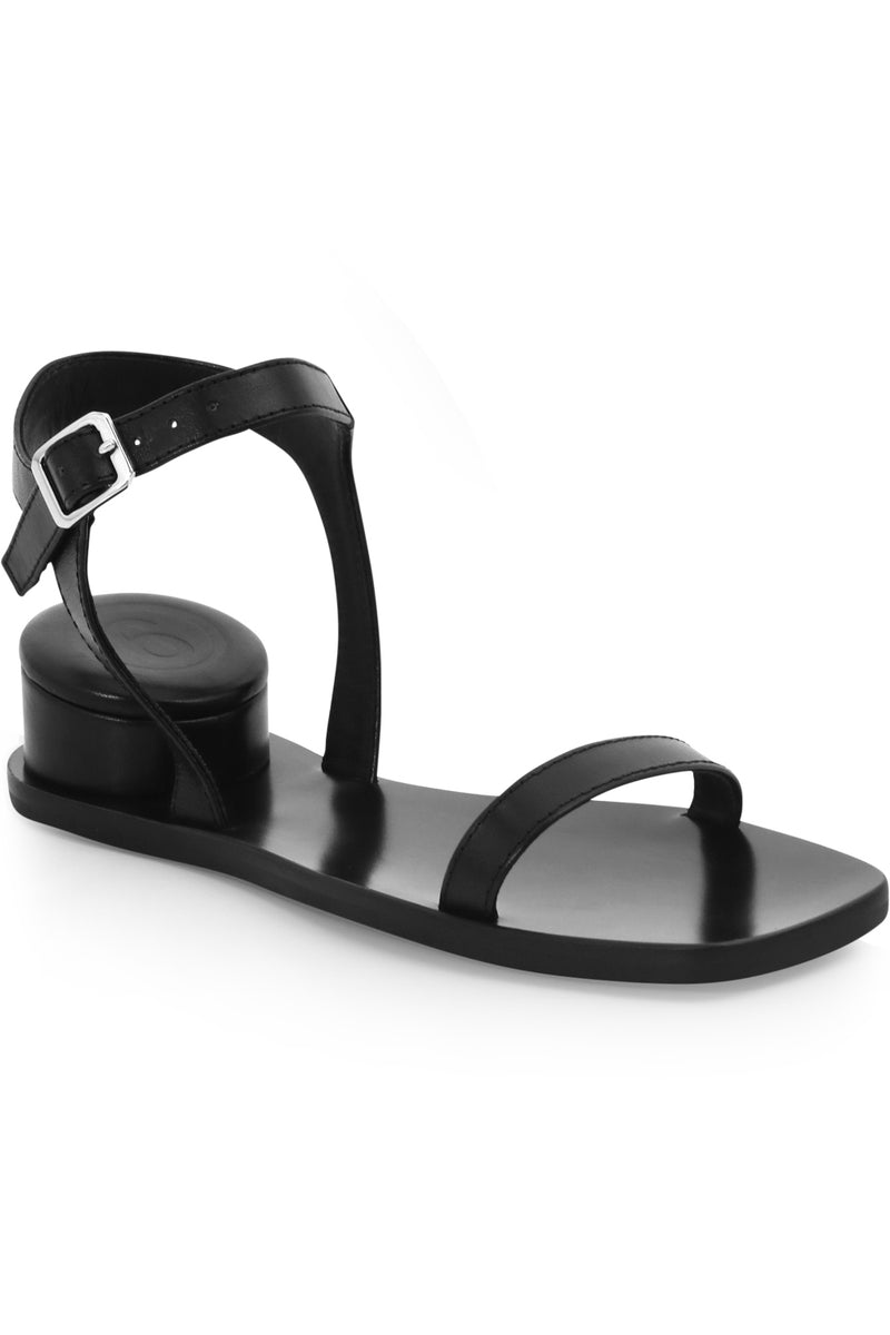 SANDAL WITH CUSHION HEEL BLACK