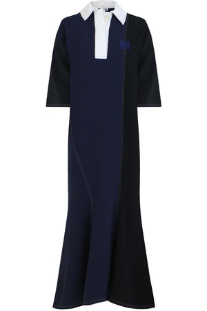 POLONECK DRESS 3/4SL BLACK/NAVY
